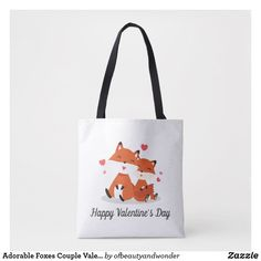 Adorable Foxes Couple Valentine   Tote Bag Edge Design, Personalized Products, Foxes, Happy Valentines Day, Reusable Tote Bags, Elegant, Couples, Simple, Classic