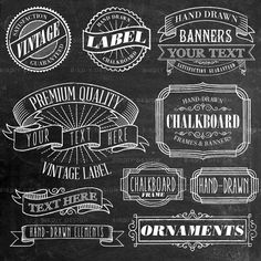 Vintage Chalkboard Frames, Labels, Ornaments Clip Art - Vector AI and Photoshop Brushes - Instant Download - Graphic Design Resources