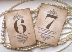 Wedding Table Numbers  Vintage Charm with QUOTES  All by amaretto, $42.50