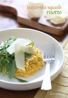 Butternut Squash Risotto | Skinnytaste. Ingredients: broth, butternut squash puree, butter or olive oil, garlic cloves, shallots, arborio rice, white wine, sage, grated Parmigiano, s & p