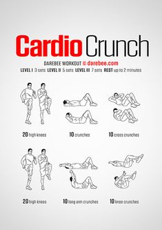 Cardio exercises are considered best for people who want to build beautiful muscles and shed off extra fats. These exercises also help you make your heart and lungs stronger and maintain your blood… Cardio, Darebee, Lose Weight, Weight Loss, Kundalini Yoga, Abdominal Muscles, Crunch Workout, Workout Men, Workout Ideas