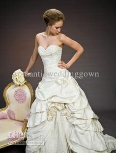 Wholesale Desigener Pnina Tornai Custom Made Sweetheart A-line Court train Taffeta Ivory Wedding Dress