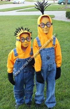 despicable me minion costume- yellow sweatshirt, overalls,black gloves, black shoes,glasses/goggles, gru sign,pipe cleaners, and face paint. i tried this last year came out so cute, but works better on kids because they are smaller and cuter.