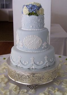 "Elegant Wedding Cakes  ~ The cake decorator ""strongly discouraged"" my getting away from the then standard white on white wedding cake, but I had seen one in Martha Stewart magazine and was sure it was what I wanted. Guess I was just ahead of my time, lol."