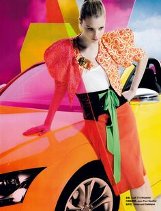 Bright mixed prints and blocked colour fashion editorial - yellow, orange, red, green http://pinterest.com/arenaint
