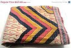 Hey, I found this really awesome Etsy listing at https://www.etsy.com/listing/203872236/vintage-throw-kantha-quilt-n-ethnic