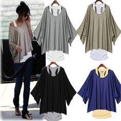Hot Fashion Sexy Womens Casual Loose Tops Batwing Blouse T Shirt Tank Vest 2pcs | eBay