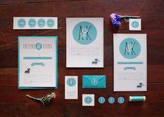 Cute Monogrammed Invitations A - Wedding Invitations by Elisa Ortiz , via Behance