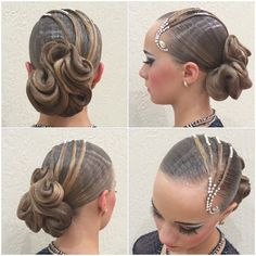 Photo Latin Hairstyles, Retro Hairstyles, Wedding Hairstyles, Celebrity Hairstyles, Dance Competition Hair, Ballroom Dance Hair, Hair Up Styles, Hair Style, Shaved Hair Designs