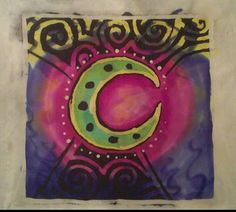 Batik Moon on Silk Wax Resist Painting by MoonlitTarotCards, $30.00