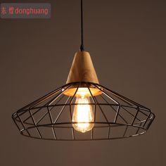 2015 New!!Vintage industrial lamps Restaurant Bedroom Living Room Cafe lights Edison Wood loft chandelier christmas