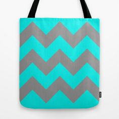 Chevron Turquoise Tote Bag by Alice Gosling - $18.00  #bag #chevron #pattern #zigzag #turquoise #blue #silver #grey