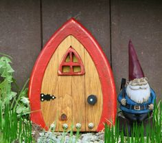 Garden Fairy Door with red frame. Red door for your fairies, gnomes, hobbits and elves. :)
