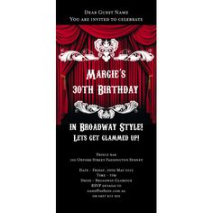 Places Themed Invitations - Broadway Show