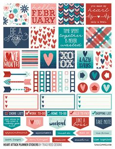 FREE Printable Planner Stickers for the Simple Stories Carpe Diem Planner by Traci Reed using the Heart Attack digital collection