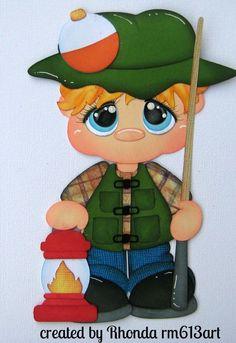 Fishing Boy blonde paper piecing premade scrapbook page Rhonda rm613art
