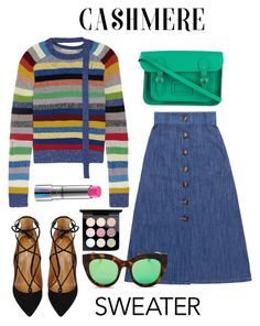 """""""Cozy Cashmere Sweaters"""" by alinepinkskirt ❤ liked on Polyvore featuring Marc Jacobs, Miu Miu, Aquazzura, Le Specs and MAC Cosmetics"""