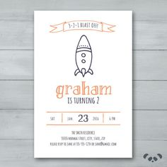 Rocket Birthday Party Invitation    by PandafunkCreations on Etsy