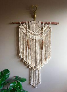 "36"" XLarge Macramé Wall Hanging ""Shaman Assinniboine"" OOAK Birch Feathers Boho Hippie Bohemian Eclectic Fringe Brass Rustic Jungalow"