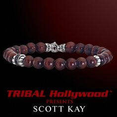 A RED TIGERS EYE WITH AGED SILVER Bead Bracelet by Scott Kay | Tribal Hollywood