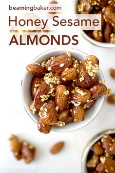 Sweet and smoky skillet-roasted almonds glazed with a coat of honey and satisfying sesame seeds. Easy recipe here: http://beamingbaker.com/honey-sesame-almonds/