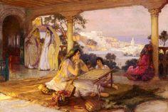 An Eastern Veranda. Huile sur toile de Frederick Arthur BRIDGMAN (américain)