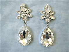 Swarovski Crystal Large Star Tear Drop Earrings