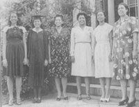 The six Dobbs Family women, in order of youngest to oldest, in 1946, at the Spelman College graduation of Matiwilda '46. All six women graduated from Spelman College.