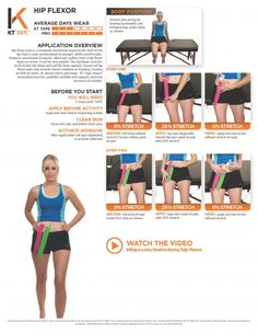 Hip Flexor Taping: KT Tape relaxes associated muscles provides stability and support and may increase circulation Kt Tape Hip Flexor, Hip Flexor Pain, Bursitis Hip, Hip Flexor Exercises, Tight Hip Flexors, Hip Pain, Back Pain, Knee Pain, Stability Exercises