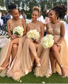 champagne bridesmaid dresses 2020 sheer crew neckline side slit pearls beading sequins a line champagne evening dresses wedding party dresses African Bridesmaid Dresses, Champagne Bridesmaid Dresses, Tulle Bridesmaid Dress, Wedding Bridesmaids, Bridesmaid Dress Styles, Wedding Party Dresses, Wedding Attire, Champagne Evening Dress, African American Weddings