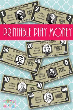 Free printable realistic play money - great for classroom activities or math lessons! Money Activities, Educational Activities, Preschool Activities, Preschool Centers, Montessori Preschool, Preschool Printables, Indoor Activities, Free Printables, Dramatic Play Area