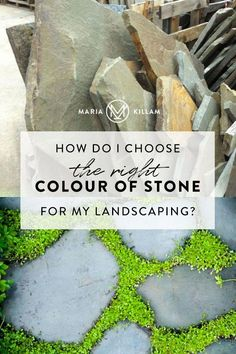 The colour of your house must be considered when choosing stone or brick for your landscaping. Heres how to choose the colour of your flagstone from my house to yours. Concrete Driveways, Flagstone, Shades Of Green, Green And Grey, Shasta Daisies, The Undertones, Front Walkway, White Tulips, White Gardens