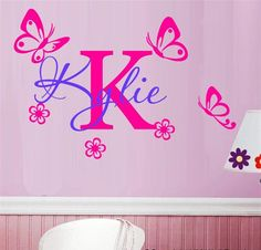 Customized Name DIY Kids Room Decor Vinyl Sticker Removable Personality Letter Name butteryfly Decals for Girls KW-146