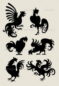 Rooster Silhouette Symbols  #GraphicRiver         Very smooth and detail silhouettes. Good use for symbol or logo.
