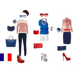 Three looks inspired from the French flag.