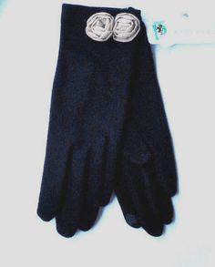 PORTOLANO  Black Cashmere Gloves retro style 50's  Feminine Tan Roses OS NWT #Portolano #EverydayGloves #Any