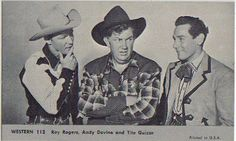 NU-CARD 1959 WESTERN SERIES #112 Roy Rogers, Andy Devine and Tito Guizar