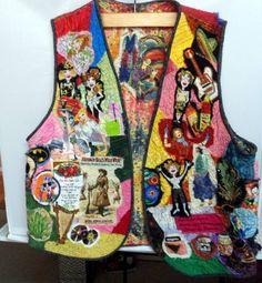 Fiber Art Vest Ladies Fabric Art Vest Reversible Vest One of a Kind Vest Raw Edge Applique Vest by Quiltwear on Etsy
