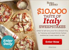 Win a $10,000 Dream Trip to Tuscany  DAILY until Oct. 15