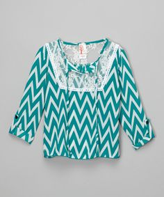 Look at this Mint Chevron Lace Top - Girls on #zulily today!