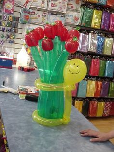 Balloon bouquet with smiley character.