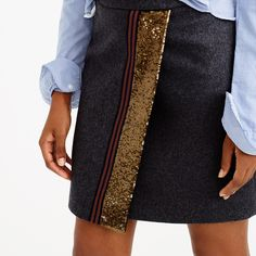 Origami skirt with sequin stripe by J.Crew: perfect for Christmas or NYE