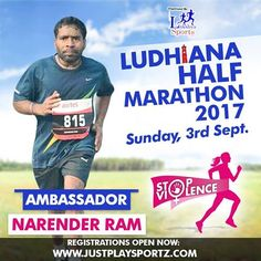 """A passionate and dedicated runner Narender Ram joins us as an Ambassador to Run for """"STOP VIOLENCE AGAINST WOMEN'.  Run along with Narender Ram in Ludhiana Half Marathon 2017 and commit to fighting Gender Inequality and Discrimination which are the main root causes of violence against women."""