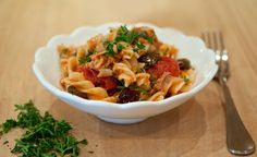Rice Fusilli with Tuna, Capers and Olives