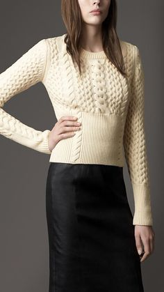 Wool Cashmere Cable Knit Sweater Burberry