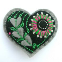 FELT VALENTINE HEART BROOCH by APPLIQUE-designedbyjane, via Flickr