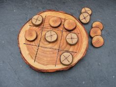 Natural Rustic Wooden Tic Tac Toe or Noughts and Crosses Game..