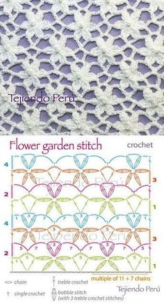 Flower stitch may have bunches of uses, but the most important thing is that they beautify all the crochet works. This flower stitch is just stunning. Crochet Stitches Free, Treble Crochet Stitch, Crochet Diagram, Crochet Chart, Easy Crochet Patterns, Crochet Motif, Crochet Flowers, Crochet Lace, Stitch Patterns