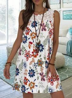 Floryday Vestidos, Stitching Dresses, Floral Tunic, Plus Size Womens Clothing, Summer Dresses For Women, Summer Casual Dresses, Dress Casual, Mode Outfits, Tank Dress