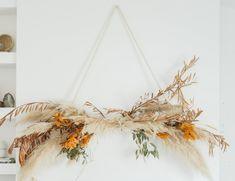 diy: fall hanging installation — Amber Thrane Hanging Flower Wall, Flower Wall Decor, Diy Hanging, Wall Flowers, Dried Flower Wreaths, Dried Flowers, Fall Fireplace, Flower Installation, Wall Installation